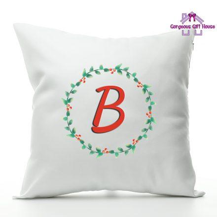 Christmas Wreath Initial Cushion