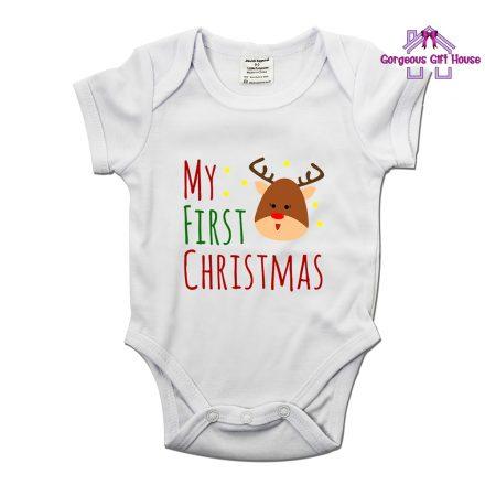 My First Christmas Reindeer Baby Grow