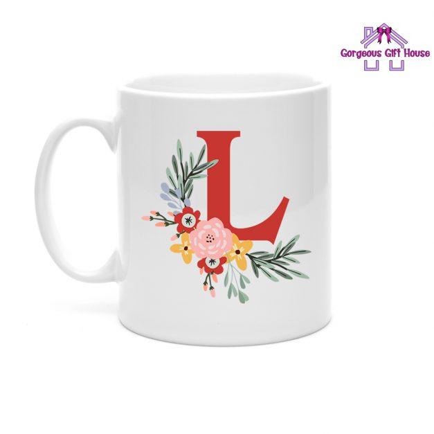 Personalised Flower Initial Mug