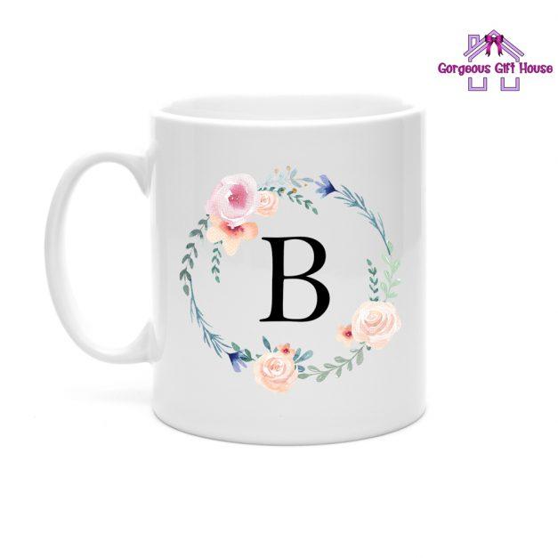 personalised flower wreath mug