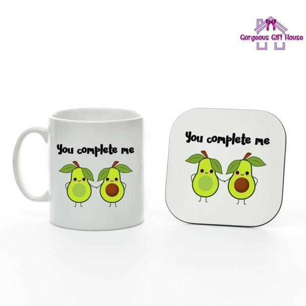 Avocado you complete me mug and coaster set