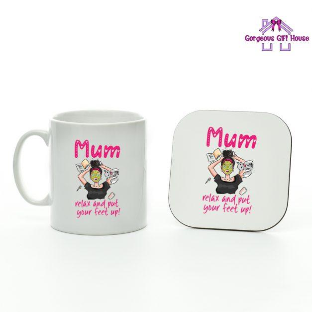 Mum Relax and Put Your Feet Up Mug and Coaster Set