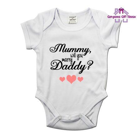 mummy will you marry daddy babygrow - marriage proposal idea