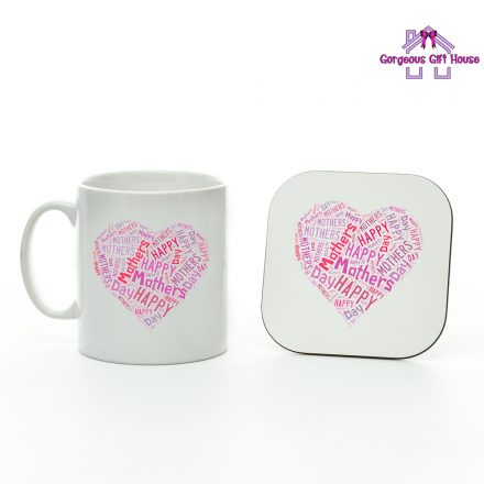 happy mother's day heart word mug and coaster set