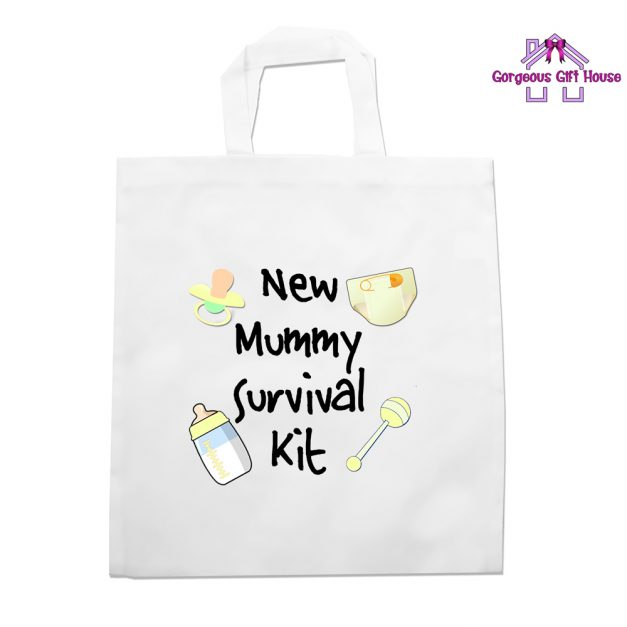 new mummy survival kit tote bag -baby shower gift