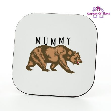 brown mummy bear coaster