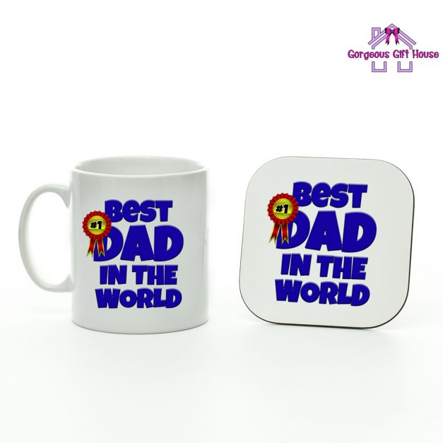 best dad in the world - mug and coaster set