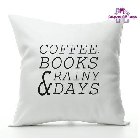 Coffee Books Rainy Days Cushion