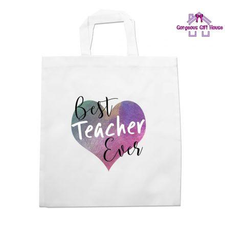 best teacher ever heart tote bag