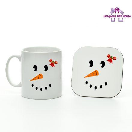 Snow Girl Face Mug and Coaster Set