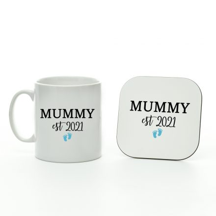 mummy est 2021 baby boy mug and coaster set