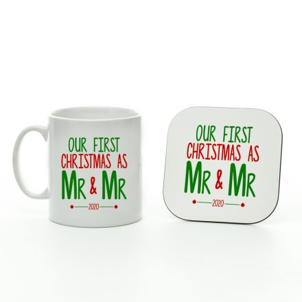 our first christmas as mr and mr mug and coaster set