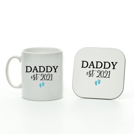 daddy est 2021 boy mug and coaster set