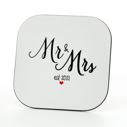 mr and mrs est 2021 coaster