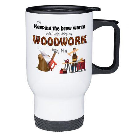 keep my brew warm woodwork mug