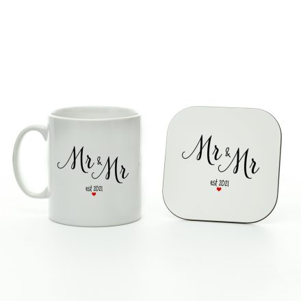 mr and mr est 2021 mug and coaster set