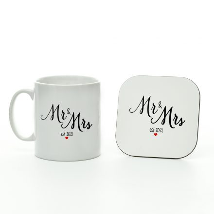 mr and mrs est 2021 mug and coaster set