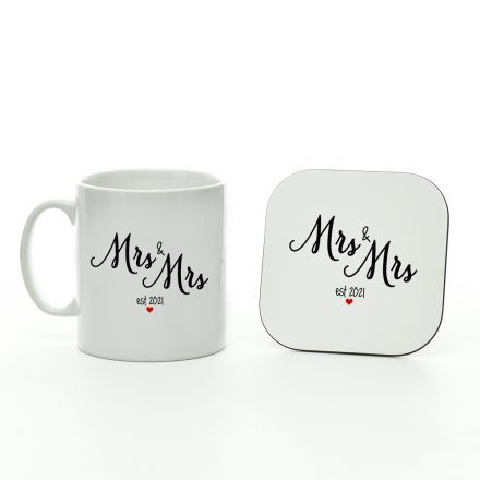 mrs and mrs est 2021 mug and coaster set
