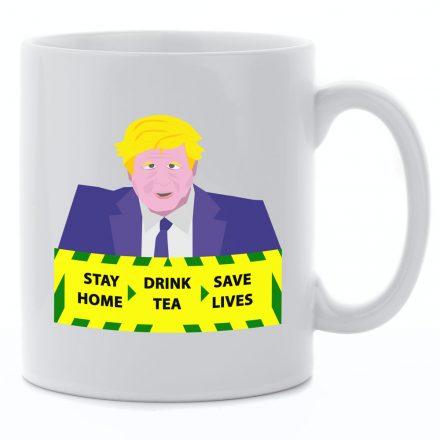 stay home drink tea save lives mug